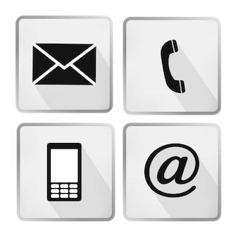 Conjunto de botões de ícones de contato - envelope, celular, telefone, correio