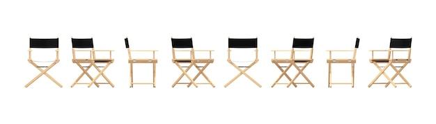 Conjunto de cadeira de diretor de madeira em diferentes pontos de vista em um fundo branco. renderização 3d