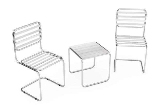 Conjunto de cadeiras de metal modernas e mesa com pranchas de madeira em um fundo branco. renderização 3d