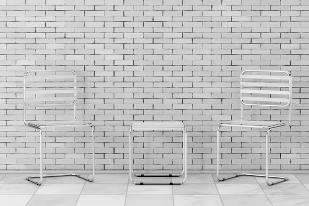 Conjunto de cadeiras de metal modernas e mesa com pranchas de madeira na frente da parede de tijolos. renderização 3d