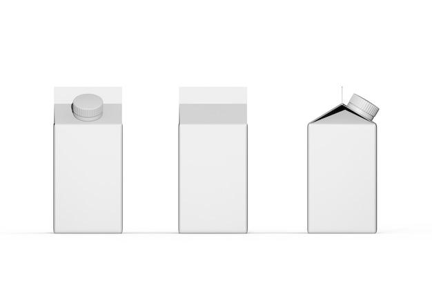 Conjunto de caixa de papel para bebida de embalagem de leite em cartão branco com tampa de rosca redonda
