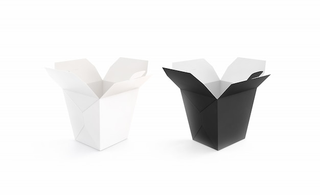 Conjunto de caixa de wok em branco preto e branco aberto
