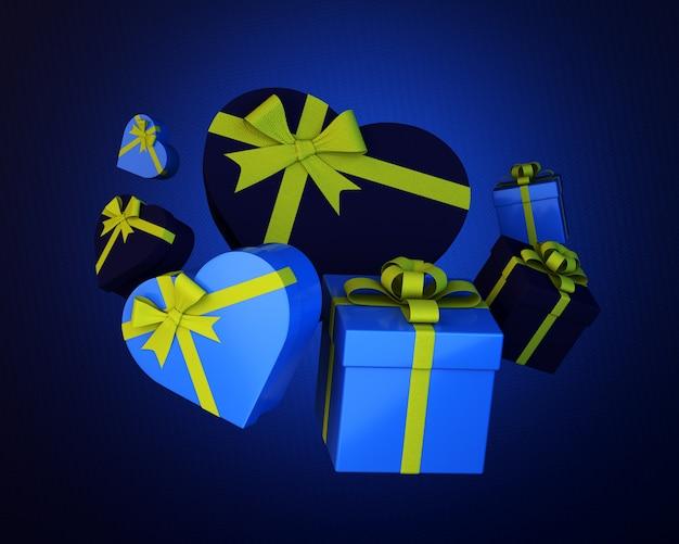 Conjunto de caixas de presente e corações azuis com fita verde em azul áspero. ilustração 3d