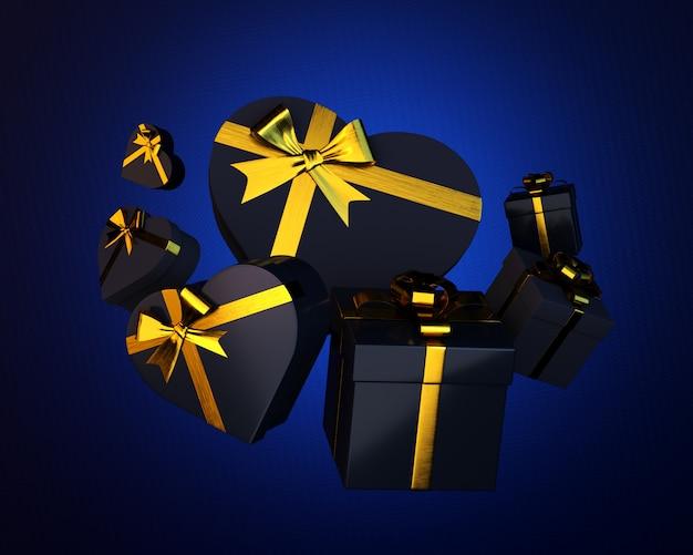 Conjunto de caixas de presente preto e corações com fita dourada em azul áspero. ilustração 3d