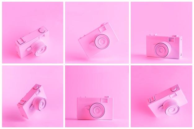 Conjunto de câmera pintada contra o pano de fundo rosa