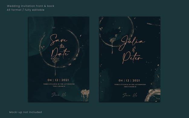 Conjunto de cartão de convite de casamento em aquarela floral ou modelo de cartão de data para noiva e noivo