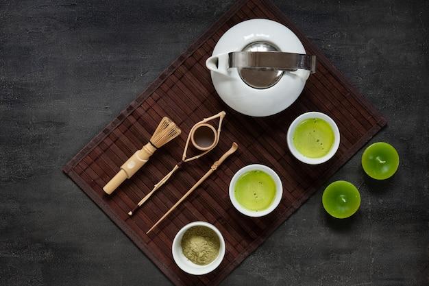 Conjunto de cerimônia de chá verde matcha