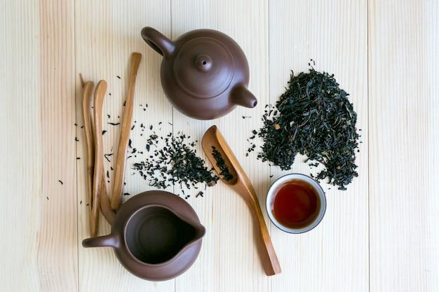 Conjunto de cerimônia do chá e chá com sabor preto