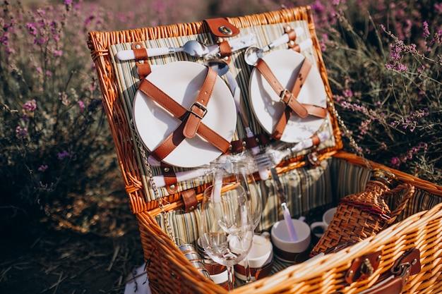 Conjunto de cesta de piquenique isolado em um campo de lavanda