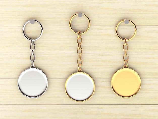 Conjunto de chaveiros redondos em branco de ouro e prata