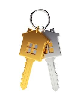 Conjunto de chaves douradas e prateadas em formato de casa