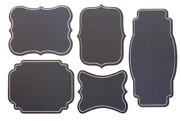 Conjunto de cinco etiquetas vintage de quadro preto vazio isoladas no fundo branco