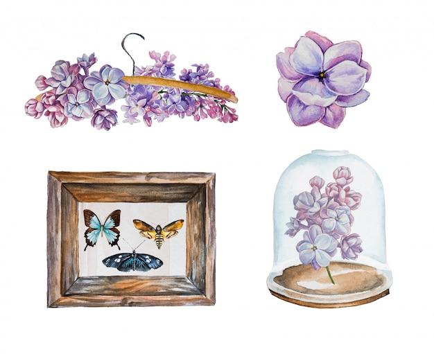 Conjunto de clipart aquarela lilás e borboletas. flores lilás isoladas em um branco