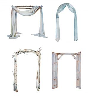 Conjunto de clipart de arcos de casamento em aquarela.