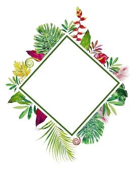 Conjunto de clipart de quadro de flores tropicais em aquarela. ilustração de flores exóticas.