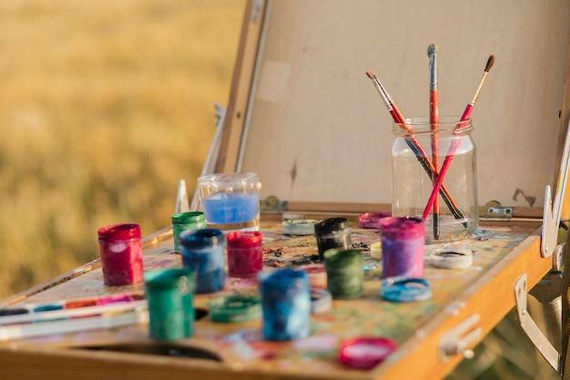 Conjunto de close-up de elementos de pintura