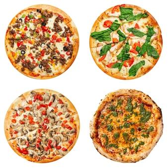 Conjunto de colagem de diferentes pizzas isoladas em branco