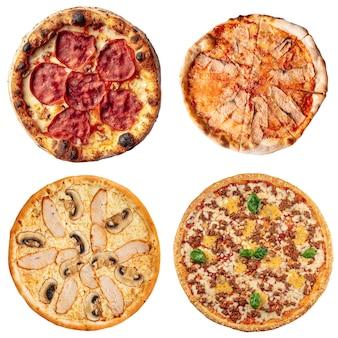 Conjunto de colagem de quatro pizzas diferentes para menu isolado