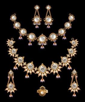 Conjunto de colar de ouro antigo indiano