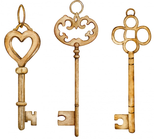 Conjunto de coleção de chaves de ouro antigas. ilustração em aquarela de chaves de metal marrom vintage.