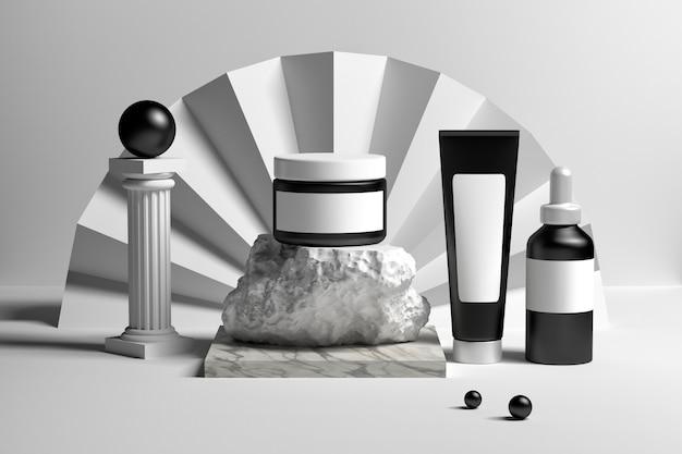 Conjunto de coleta de cosméticos embalagens frascos frascos tubos