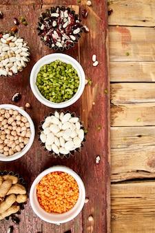 Conjunto de coleta de feijão e legumes