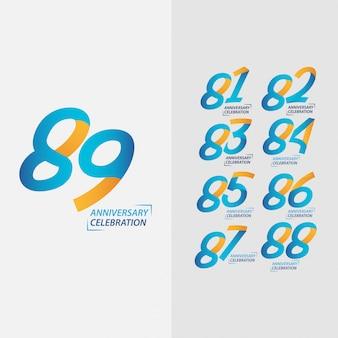 Conjunto de comemoração de aniversário de 89 anos