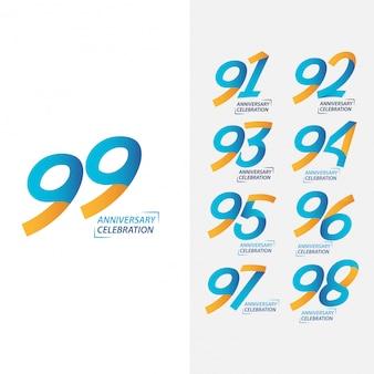 Conjunto de comemoração de aniversário de 99 anos