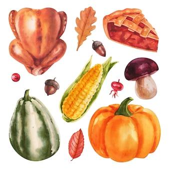 Conjunto de comida aquarela sobre fundo branco