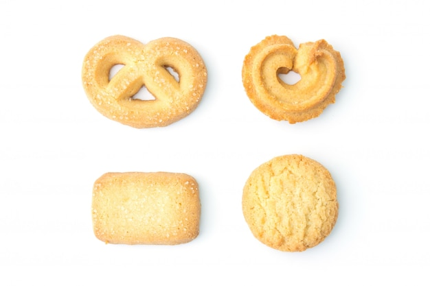 Conjunto de cookies na vista superior