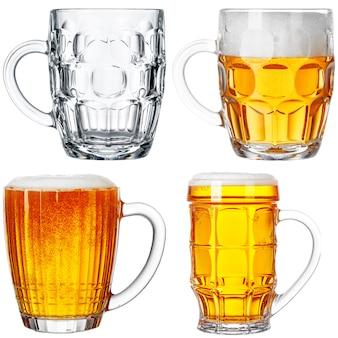 Conjunto de copos de cerveja isolado