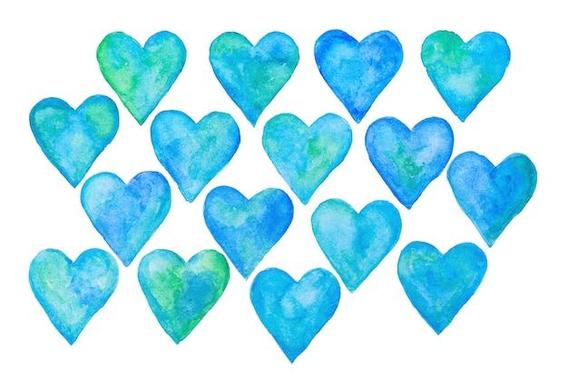 Conjunto de corações em aquarela abstratos azuis, elementos de corações mão desenhada.