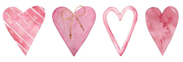 Conjunto de corações rosa aquarela. cartão de amor com corações aquarela rosa isoladas no fundo branco. clipart romântico. conjunto de dia dos namorados.