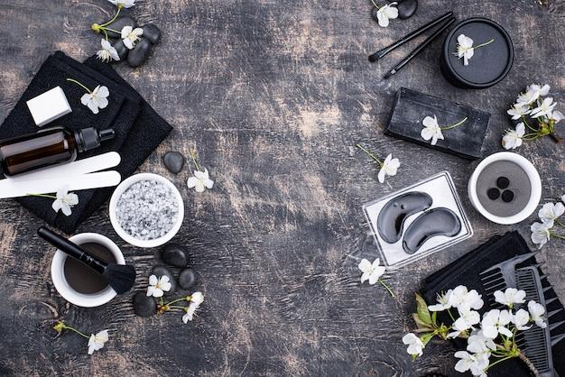 Conjunto de cosméticos de desintoxicação de carvão preto