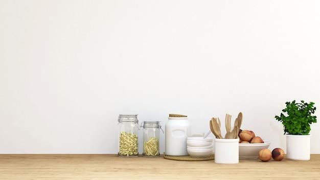 Conjunto de cozinha para fundo - renderização em 3d