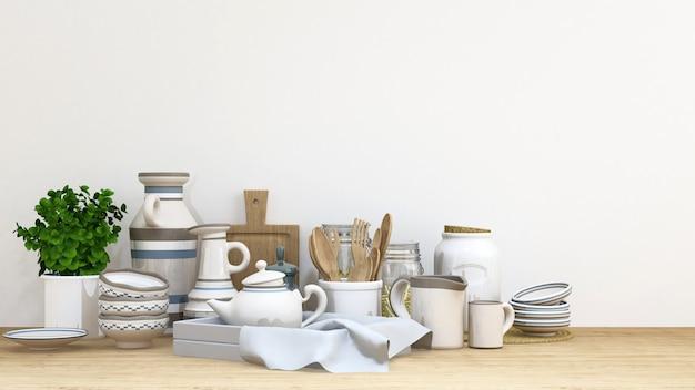 Conjunto de cozinha tom branco bule na renderização de piso de madeira-3d