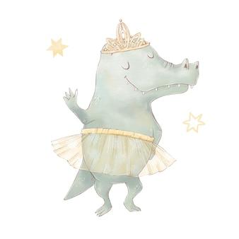 Conjunto de crocodilo bonito dos desenhos animados em balão de ar quente. ilustração em aquarela