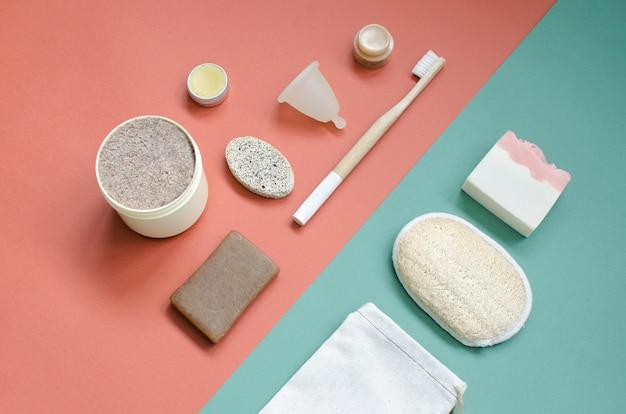 Conjunto de cuidados diários de produtos ecológicos. desperdício zero