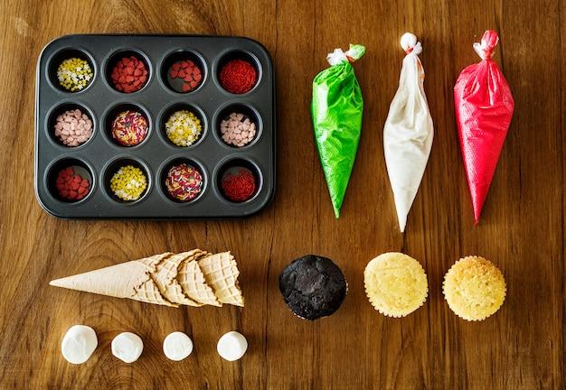 Conjunto de decorações de cupcake
