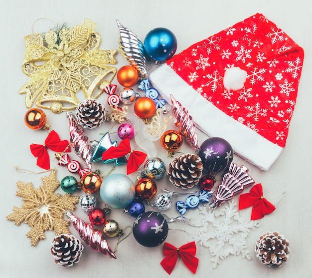 Conjunto de decorações de natal e ano novo