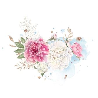 Conjunto de delicadas peônias vermelhas e brancas ilustração em aquarela