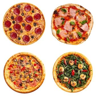 Conjunto de diferentes pizzas isoladas em branco