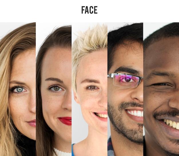 Conjunto de diversidade pessoas feliz rosto expressão emoção studio colagem