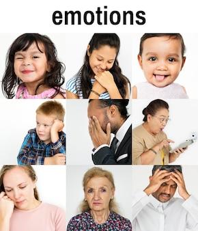 Conjunto de diversidade pessoas rosto expressão emoção studio colagem