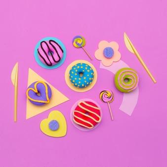 Conjunto de donut de moda. arte de flatlay mínimo de doces.