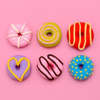 Conjunto de donut. sweet candy minimal flatlay art.