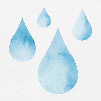 Conjunto de elementos de desenho aquarela azul de gota d'água