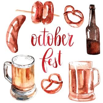 Conjunto de elementos de design da oktoberfest de pintados à mão