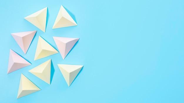 Conjunto de elementos de papel pastel de vista superior