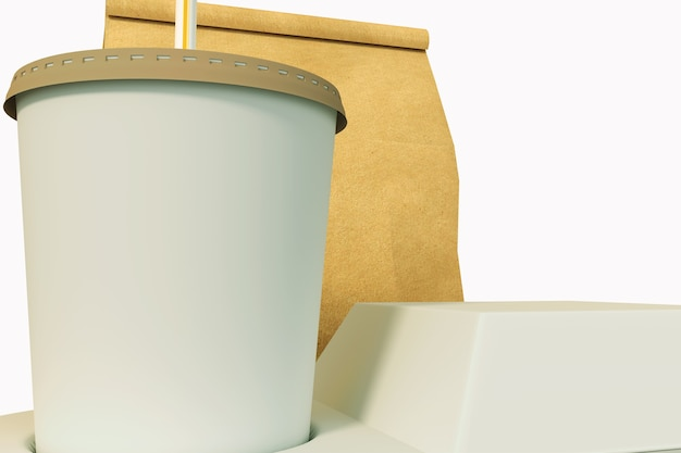 Conjunto de embalagens de fast food